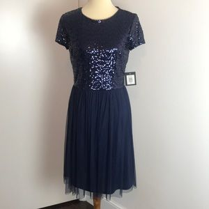 Marina Navy Blue Sequin Dress NWT